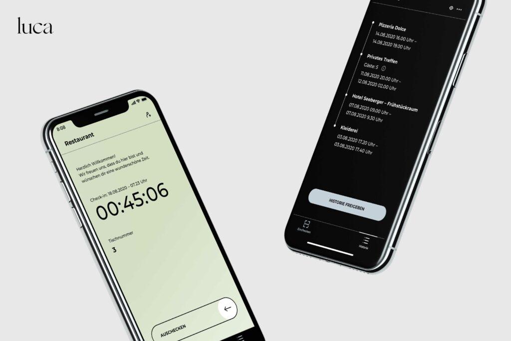 Ansicht luca App auf Handy